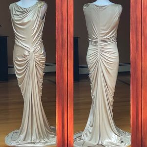 Champagne Beaded Shoulder Maxi Gown